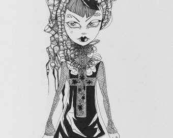 Goth Girl with Dreads and Skull Bow original illustration on grey paper
