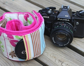 Ready To Ship Extra Long Wide Camera Strap for DSL Camera Pastel Floral With Hot Pink Minky Dot and Lens Cap Pocket No Monogram