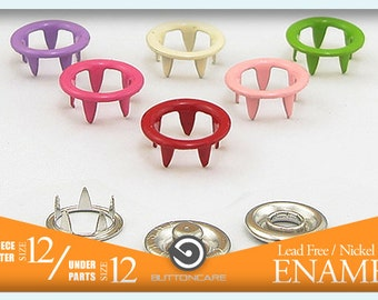 Size 12   10 Colors Snap Prong Buttons