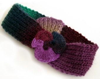 Headband, Knit headband, Hippie headband, Hipster, Boho accessory, Fall accessory, Headband with flower, Freeform crochet, Wool headband