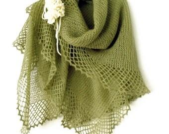 Knit shawl, Loose knit stole, Prayer shawl, Knit cape, Knit wrap, Rectangular shawl, Doubled shawl with frill, Fall shawl, Fall accessory