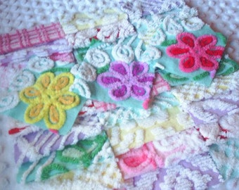 Vintage Chenille Bedspread Squares-Red, Pink, Yellow Plus-SWEET