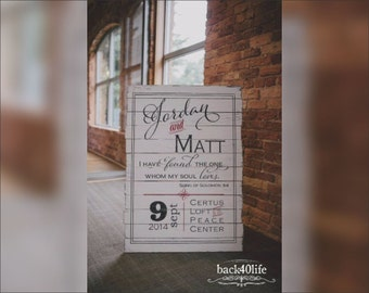 Jordan and Matt Pallet-Style Wedding Welcome Sign (W-070) - painted lettering 40x25