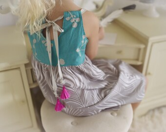 Children's Clothing - Girl's Dress in blue and gray with fuchsia tassels - Quality Handmade Girl's Dress