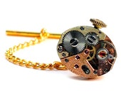 Vintage Rose Gold Tissot Watch Movement Steampunk Tie Tack Pin Chain Clip