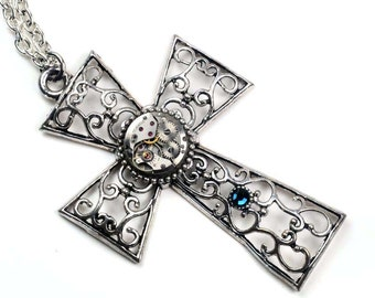 Large Cross N Montana Crystal Steampunk Vintage Watch Movement Necklace