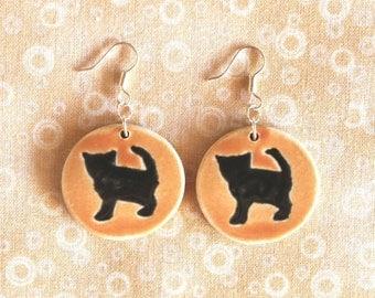 Cute Handmade Orange Porcelain BLACK KITTEN Earrings / Halloween Jewelry