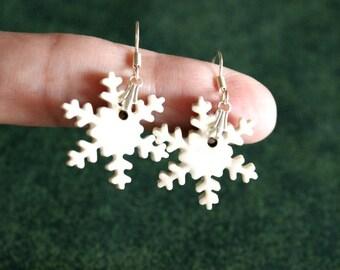 Beautiful Little Handmade White Porcelain SNOWFLAKE Earrings / Christmas Holiday Jewelry