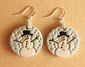Cute Handmade Porcelain SNOWMAN Earrings / Christmas Holiday Jewelry