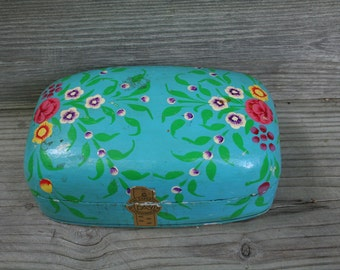 Lovely Hand Painted Paper Mache Tea Box