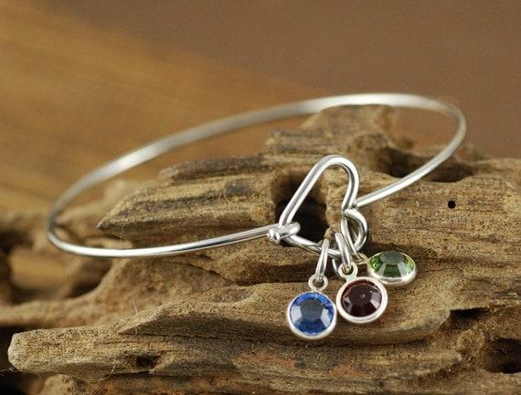 Silver Heart Bangle, Stainless Steel Bangle, Birthstone Bracelet, Open Heart Bracelet, Family Bracelet,  Grandmother Bracelet, Mommy Jewelry