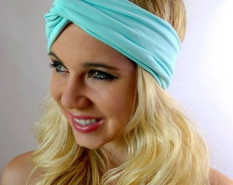 Cotton Jersey Headband Turban Headband BLACK FRIDAY DEAL Pale Tiffany Blue Wide Headband Twist Running Turband or Choose Color