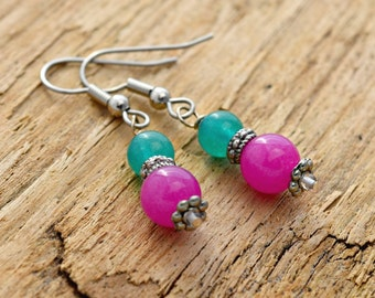 Teal and Candy Pink Dangle Earrings - Greenish Blue and Fuschia