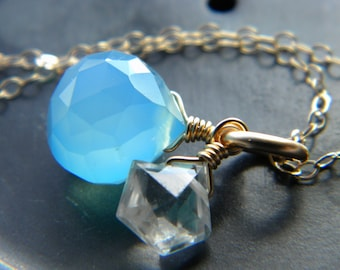 Blue chalcedony and clear crystal star gold filled necklace - Winter jewelry - semiprecious wire wrapped gemstone jewelry