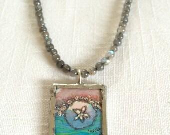 Sand dollar watercolor illustration pendant labradorite necklace