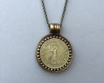 HUNGARY - One of a Kind Hungarian Coin Necklace - Reversible