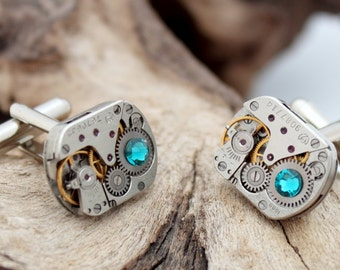 Steampunk watch movement cuff links with turquoise Swarovski crystal rhinestone- polished matching pair- Unisex gift for him or her