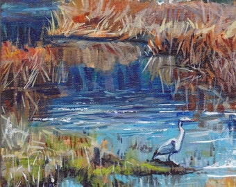 Landscape Arizona Lake Painting Original Art