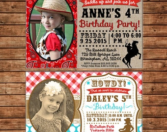 Boy or Girl Pony Horse Farm Cowgirl Cowboy Western Bandana Check Birthday Party Invitation - DIGITAL FILE