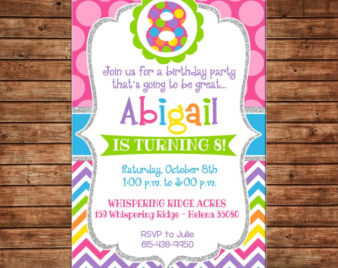 Glitter Silver Chevron Polka Dot Age Generic Birthday Party Invitation - DIGITAL FILE