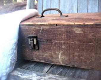 Primitive rustic wood box, handmade box, shabby box, storage box, solid wood box, primitive box, metal corners, studio storage box