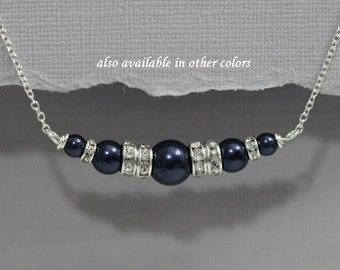 CUSTOM COLOR Swarovski Night Blue Navy Bridesmaid Necklace, Navy Pearl Necklace, Blue Wedding Jewelry, Mother fo the Bride Gift