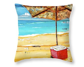 Cooler and Umbrella at the beach throw ART PILLOW, home decor pillow, housewares, summer gift, christmas gift, mixed media collage