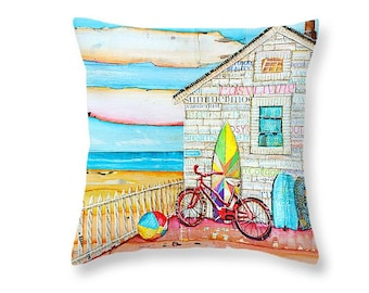 Beach Shack with Bicycle throw ART PILLOW, Portland Maine, home decor pillow, summer gift for her, Christmas gift, coastal decor gift