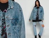 Levis Jacket ACID WASH Denim Jacket 80s Levi Jean Jacket Grunge Oversize 1980s Vintage Button Up Hipster Biker Coat Large