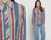 Floral Blouse 70s Boho Shirt Polo Button Up STRIPED Top Mod Calico Print 1970s Hippie Vintage Hipster Blue Long Sleeve Extra small xs