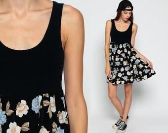 Floral Babydoll Dress 90s Grunge Mini Sundress EMPIRE Waist Black Bohemian 1990s Vintage Boho Sleeveless Sun Dress Minidress Small Medium