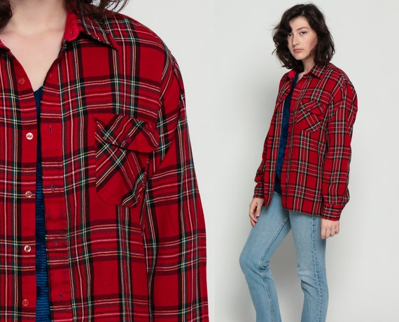 Plaid Flannel Shirt 70s Red Checkered Lumberjack Tartan Shirt