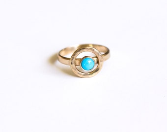 Aurum ring - solid 14K yellow gold and sleeping beauty American high grade turquoise petite stackable unique ring