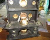 SALE Dollhouse Decor. Kitchen Sideboard with Copper Plates, Pots and Pans. # 183