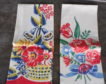2 Vintage Canon Kitchen Towels w Flowers Tulips Roses Daisies UNUSED
