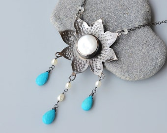 Moon Halo Necklace - Coin Pearl, Oxidized Sterling Silver, hand forged bezel, wire wrapped Turquoise drops and Rainbow Moonstone - Long
