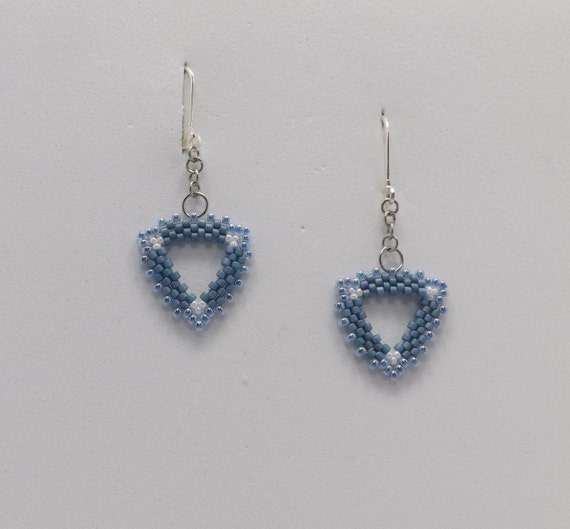 Denim Blue Triangle Peyote Stitch Beaded Earrings Sku: ER1019