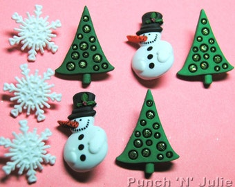 CHRISTMAS PAST - Tree Snowman Snowmen Snowflake Snow Dress It Up Craft Buttons