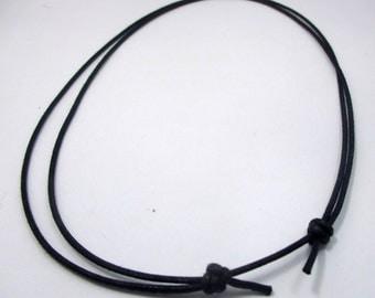 20 strands of handmade 1.5 mm. black cotton cord sliding knot necklace