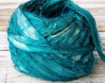 Sari Ribbon, Recycled Silk Sari Ribbon, Tiebacks, Baby Photography Prop, Prop Ribbon Yarn, Jewelry Making, Deep Teal