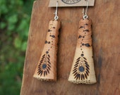 Woodburned Juniper Earrings- Sustainable Wood Jewelry- Juniper Wood Earrings- Natural Wood Jewelry- Eco Earrings