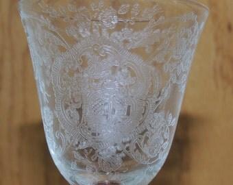 Elegant 6 inch wine stem Mystery Pattern