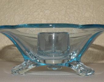 Blue Fostoria Fairfax Single Candle Holder