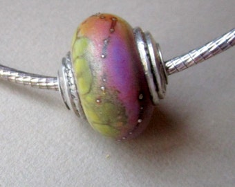 Andrea Guarino-Slemmons Lampwork Focal Bead with Fine Silver End Caps