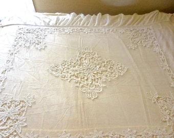 1910s Antique Battenberg Lace On Ivory Net Bedspread Ivory Cotton Backing