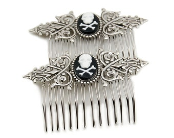 SALE 50% OFF Gothic Lolita Hair Combs - Gothic Hair Combs - with White on Black Skull and Crossbones Cameos - Set of 2 - By Ghostlove