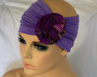Lavender Flower Headband- Jersey Headband- Women Turbans- Hair Accessories- Yoga Headband