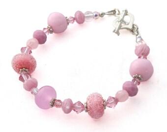 Glass Bead Bracelet - Pink Beaded Bracelet - Lampwork Bracelet - Womens Bracelet - Bridesmaid Bracelet - Gifts for Her - Mothers Day Gift