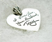 Signature Necklace Large Heart Pendant in Memory Handwriting Jewelry in Sterling Silver