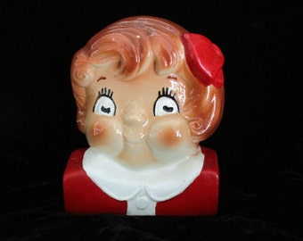 Campbell Soup Bookend Head Bust - Campbell Girl Beautiful Large Figurine Vintage Ceramic Campbell Collectible